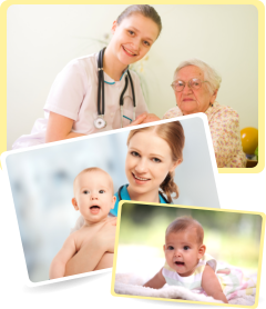 images of a senior woman, nurses and two infants